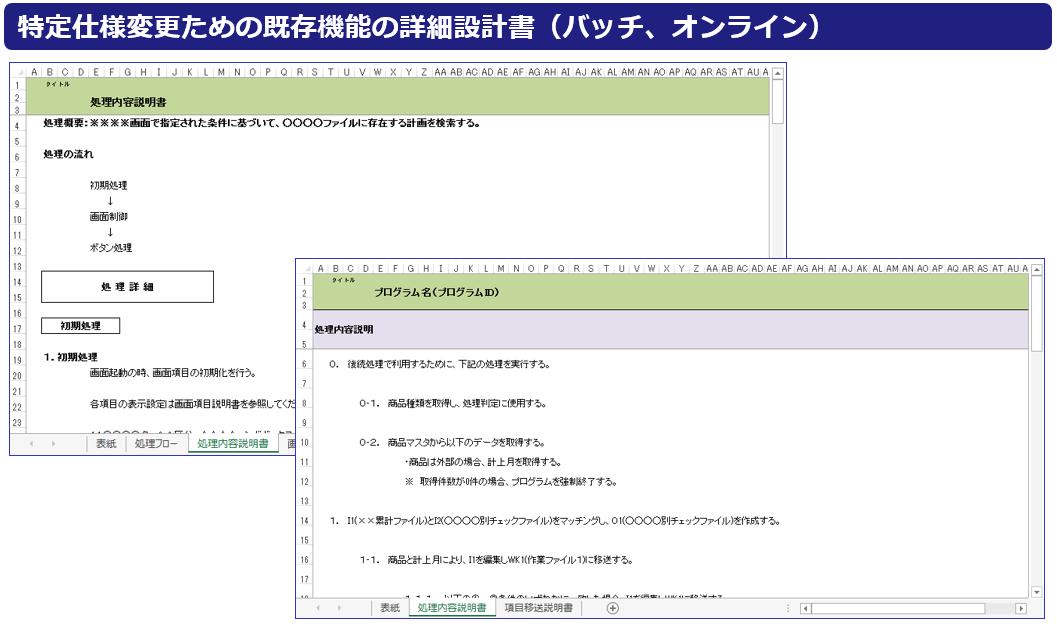 特定仕様変更ための既存機能の詳細設計書(バッチ、オンライン)